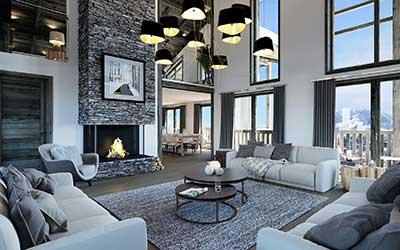 Réalisation d'une perspective 3D d'un appartement à Courchevel par l'agence de création 3D Valentin Studio.