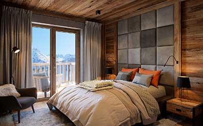 Vue en perspective 3D d'une chambre de chalet de luxe par un architecte 3D professionnel.