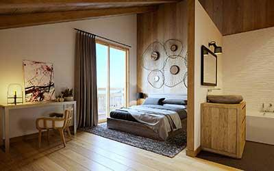 Image 3D Du0027une Chambre De Chalet De Luxe Réalisée Par Une Agence De  Graphistes