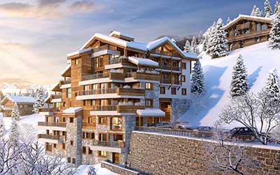 Projet immobilier d'un Chalet de luxe représenté par une perspective 3D du lieu.