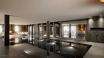 3D Photo of a pool in Chamonix, 3D architecture project.