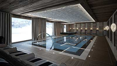Creation of 3D architecture image of a luxurious swimming pool in the mountains.