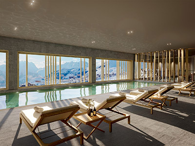 Image 3D d'une piscine intérieure dans un chalet avec vue sur la montagne