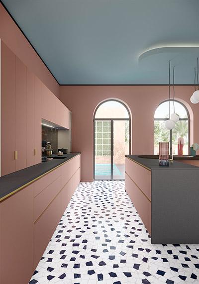 Représentation 3D d'un cuisine moderne rose et grise
