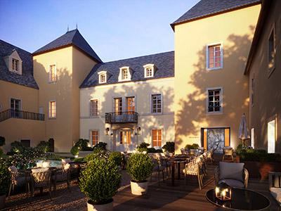 Image de synthèse 3D d'un château avec son restaurant et terrasse en fin de journée
