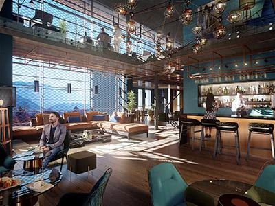 Visualisation 3D de l'intérieur d'un bar-restaurant au style industriel