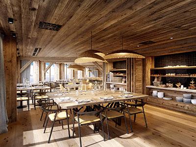 Image de synthèse 3D d'un restaurant rustique en bois dans un chalet de montagne