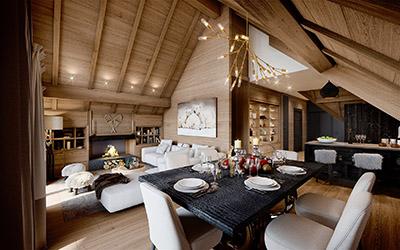 Image 3D d'une salle à manger dans un chalet