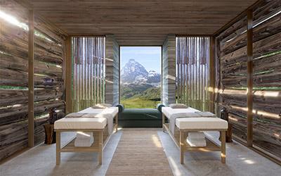 Perspective 3D d'une salle de massage luxueuse dans un chalet Suisse