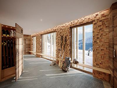 Représentation 3D d'une salle de ski moderne dans un chalet à la montagne