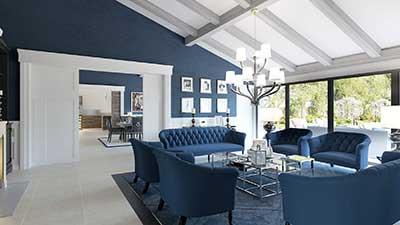 Architecture 3D, Rendu en image de synthèse : Salon d'une villa de luxe.