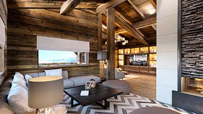 Photo of a 3D rendering of the living room of a luxurious chalet.