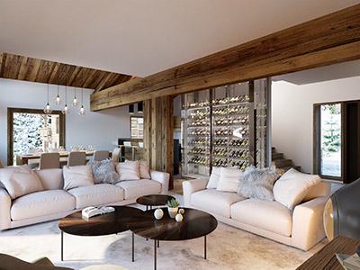 Visualisation 3D d'un salon et de sa cave à vin dans un chalet à la montagne