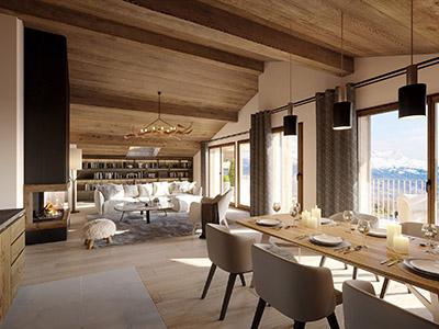 Image de synthèse 3D d'un appartement dans un chalet à la montagne