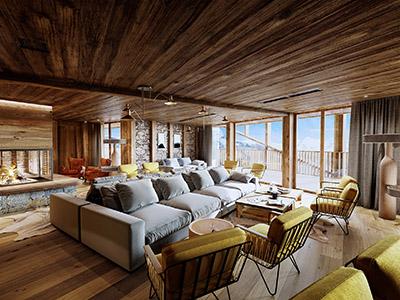 Image 3D d'un salon dans un hôtel de type chalet de montagne