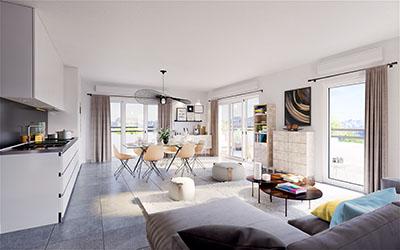 Image 3D de l'espace de vie d'un appartement moderne