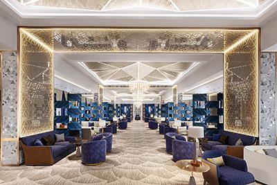 Représentation 3D d'un salon luxueux aux détails orientaux