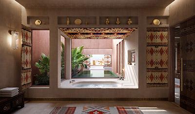 Représentation 3D d'une salle de bain de luxe orientale