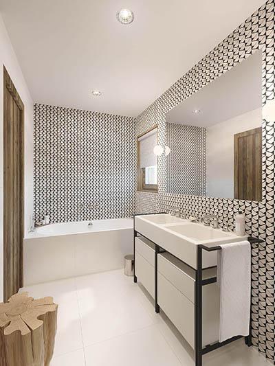 Salle de bain moderne 3D dans un chalet de montagne