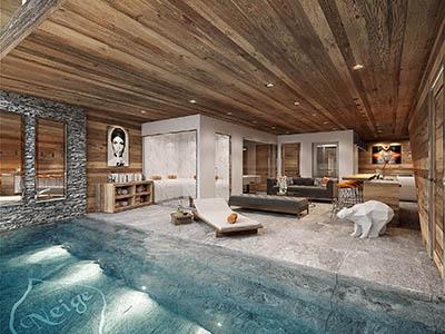 Création 3D d'une piscine à l'intérieur d'un chalet de montagne