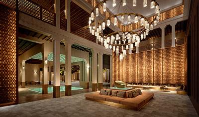 Image de synthèse 3D d'un spa de luxe au Maroc