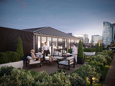 Infographie 3D d'un rooftop d'entreprise à Paris