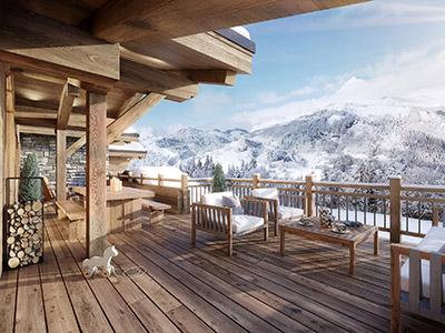 Perspective 3D d'une terrasse de chalet avec vue sur la montagne enneigée