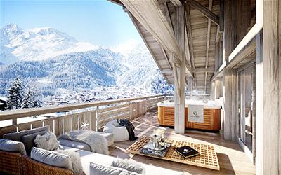 Image de synthèse 3D d'une terrasse de chalet avec vue sur la montagne et spa