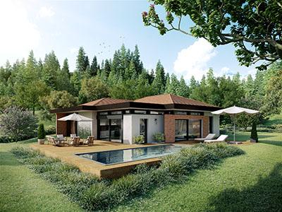 Réalisation 3D d'une maison individuelle à la campagne avec piscine